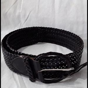 """NWT Izod 2.5"""" wide black weave belt max. 37"""" sz S"""